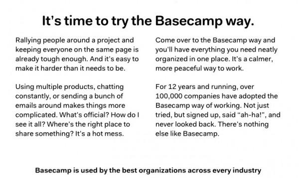 Basecamp. Make reading easy.